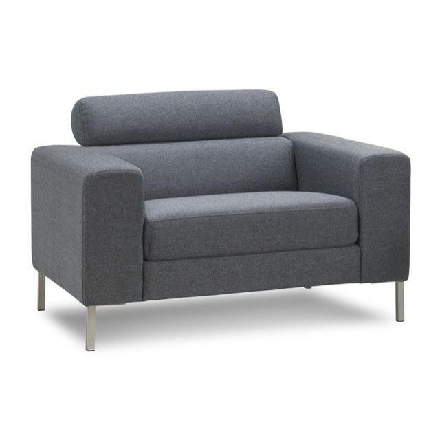 DELORM Fauteuil en tissu gris Confort