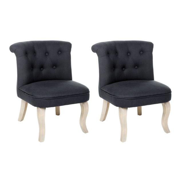 Lot de 2 fauteuils effet lin Calixte petit modèle Charme bleu chalk Atmosphera