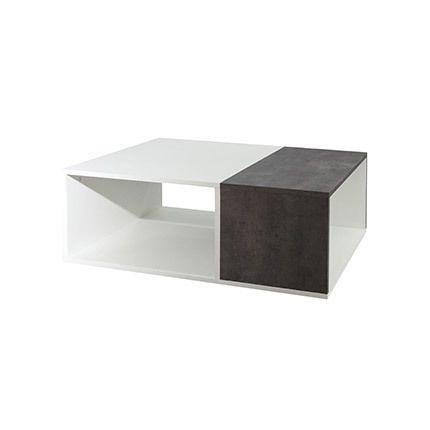 Table basse bivolume effet béton - blanche