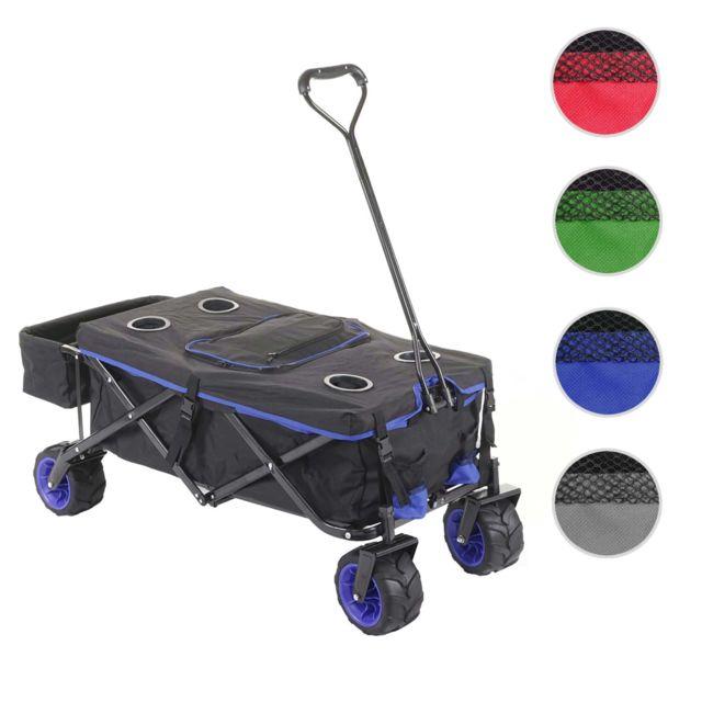 Mendler Chariot pliable Hwc-e62, charette à bras, pneus tout terrain ~ avec recouvrement et sac réfrigérant noir/bleu