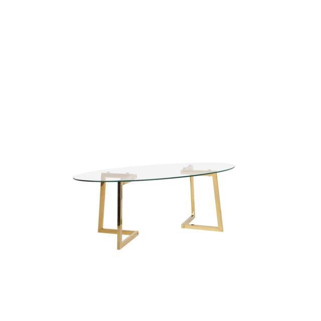 BELIANI Table basse doré et plateau en verre FRESNO - transparent