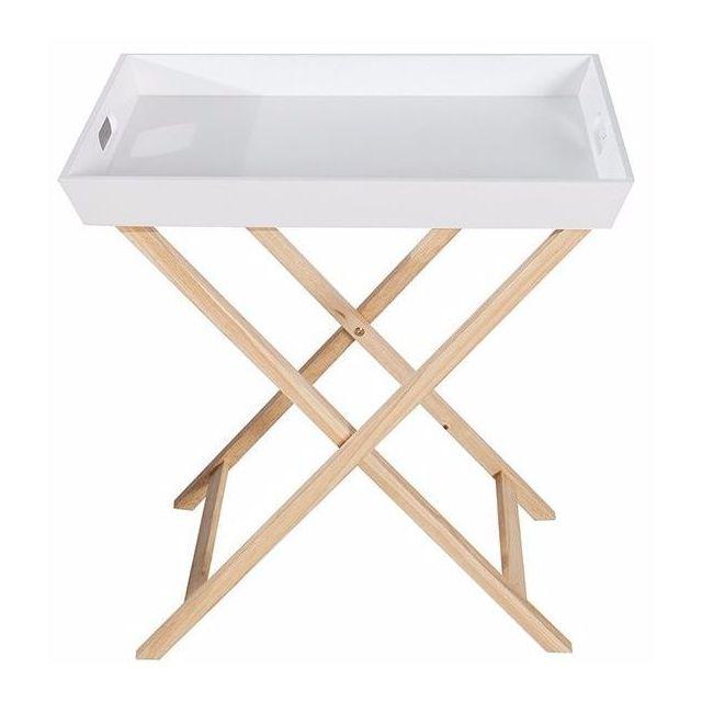 Comforium Table d'appoint pliable avec 2 plateaux amovibles en Mdf blanc et un piétement en chêne massif