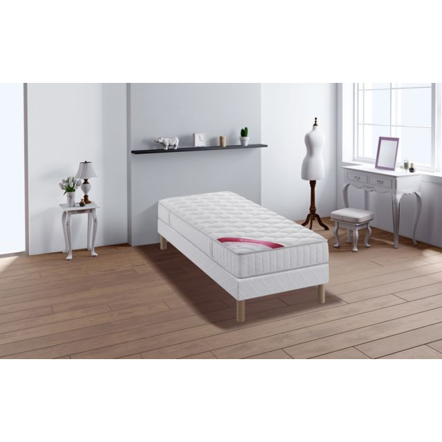 relaxima expert ensemble sommier matelas ressorts ensach s simmons 90x190 blanc pas cher. Black Bedroom Furniture Sets. Home Design Ideas