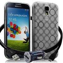 Karylax - Housse Coque Style Cercle Translucide pour Samsung Galaxy S4 + Chargeur Auto