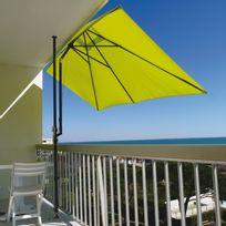 Couleurs Du Monde - Parasol rectangulaire pour terrasse et grand balcon 3 m x 1.50 m Leo - Anis