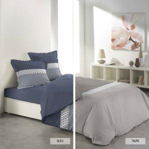 sans marque housse de couette 220 x 240 cm taies agatha deux coloris taupe 220cm x 240. Black Bedroom Furniture Sets. Home Design Ideas