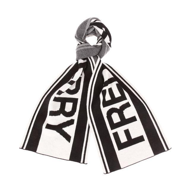 Fred Perry Echarpe en laine mélangée noire et blanche à logo