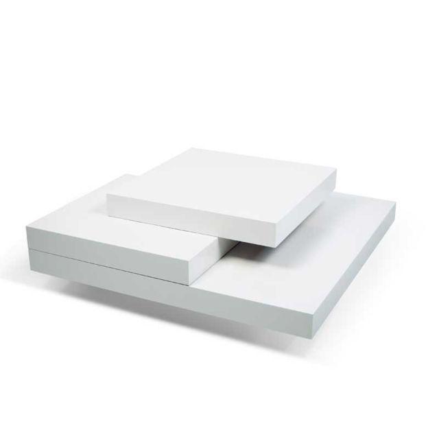 Tousmesmeubles Table basse carrée Blanc mat - Ubadio