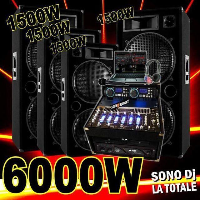 Ibiza Sound Sono complète 6000w avec 4 enceintes 1500w - ampli 3000w - double cd - mixage usb dj casque dj