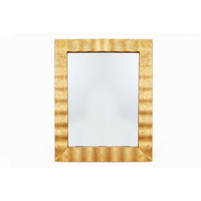 Heart Of The Home Miroir rectangulaire en métal design Flora - L. 76 x l. 91 cm - Doré