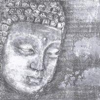 Aucune - Bouddha Tableau déco toile peinte relief 80x80 cm gris