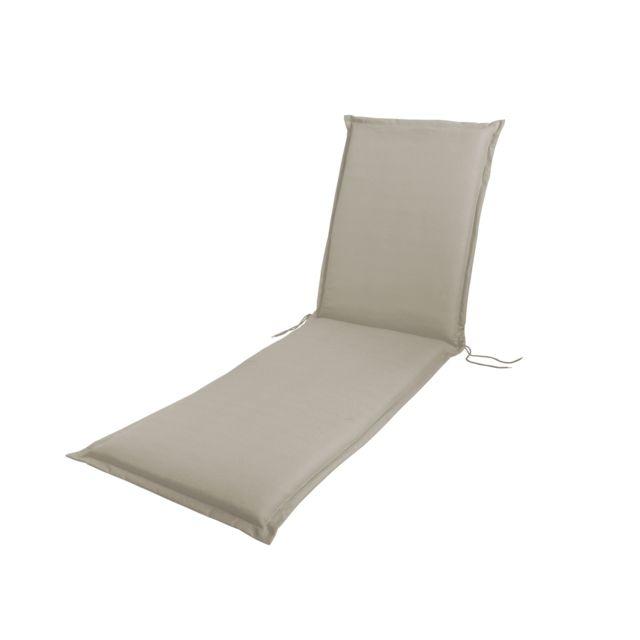 HYBA Coussin bain de soleil - Beige Plus produit :- Matière déperlante,- Lavable facilement.Caractéristiques produit :- Dimensions : L 190 x l 60 x H 7 cm- Composition : Coton (50%), polyester (42%), viscose (5%), autres fibres