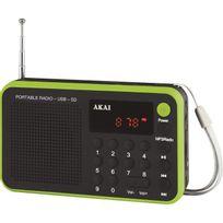 Akai - Ar-68KGN - Transistor. Tuner digital. Usb. Batterie Lithium - Vert