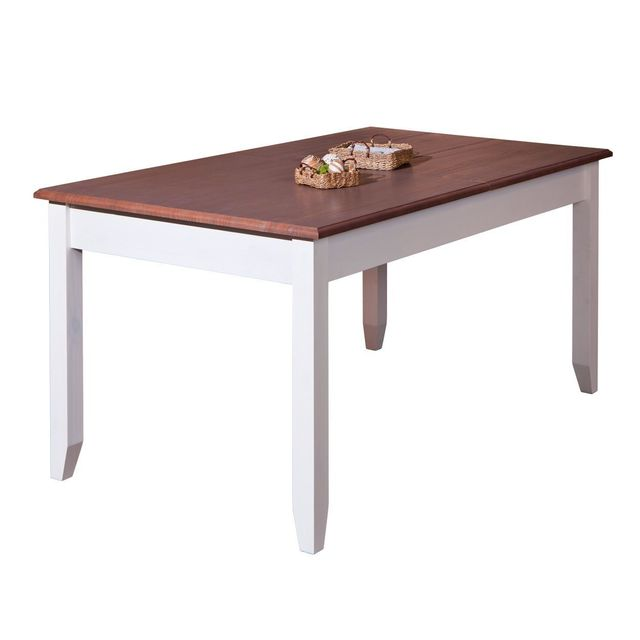 Comforium Table extensible contemporaine 160-200 cm en pin massif coloris blanc et bois verni