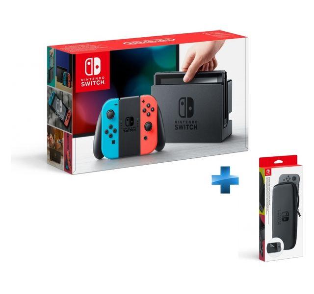 NINTENDO - Console Switch avec un Joy-Con rouge néon et un Joy-Con bleu néon + Set d\'accessoires pochette de transport et protection d\'écran Switch