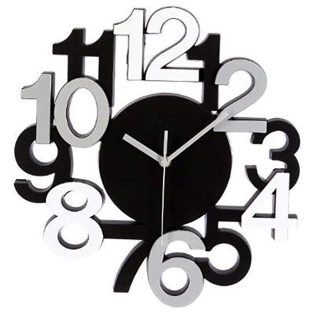 Touslescadeaux horloge murale design chiffres en relief pendule silencieuse noir gris for Horloge de cuisine pas cher
