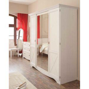 armoire en bois 4 portes imitation pin blanchi l194xp66xh205cm jeanne pas cher achat vente. Black Bedroom Furniture Sets. Home Design Ideas
