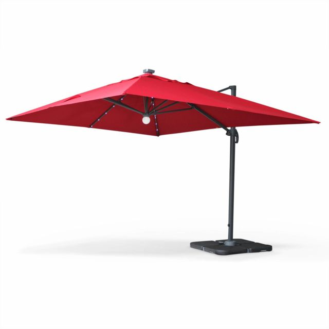 alice 39 s garden parasol d port solaire led rectangulaire 3 x 4 m haut de gamme luce rouge. Black Bedroom Furniture Sets. Home Design Ideas