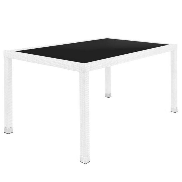 Tousmesmeubles Table de repas Rotin blanc/Verre noir - Baros