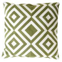Decoshop26 - Coussin vert et blanc motif carré 45x45 cm déhoussable Dec04079