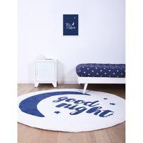 Lilipinso - Tapis Good Night rond bleu pour chambre bebe par - Couleur - Bleu, Taille - 150 / 150