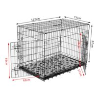 PAWHUT - Cage caisse de transport pliante pour chien poignée, plateau amovible, coussin fourni 122 x 77 x 82 cm 35