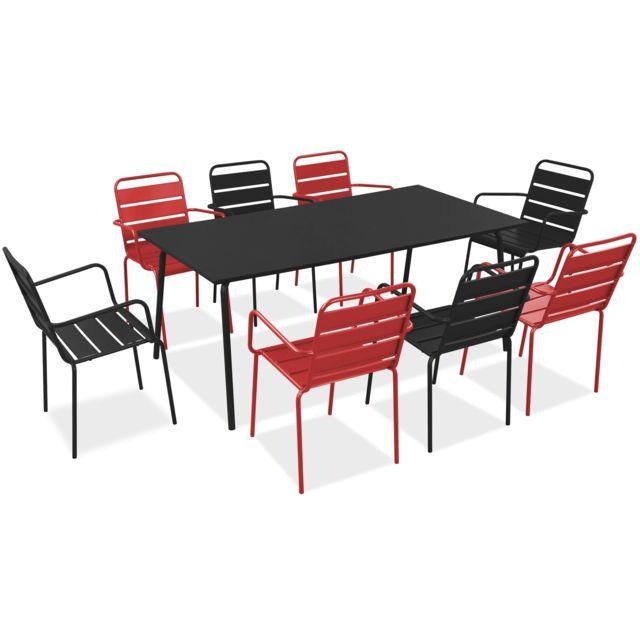 Oviala salon de jardin en m tal 1 table et 8 fauteuils palavas rouge pas cher achat - Salon de jardin rouge ...