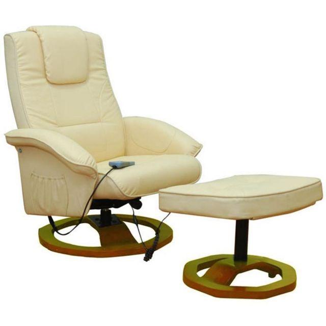 Helloshop26 Fauteuil de massage confort relaxant massage chauffage massant détente beige 1702001