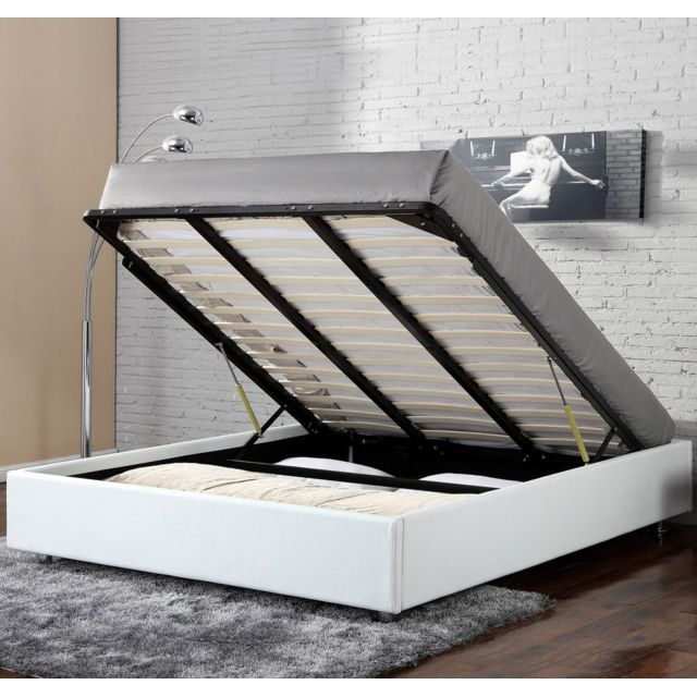 confort lit coffre clever 160x200 cm blanc 160cm x 200cm pas cher achat vente. Black Bedroom Furniture Sets. Home Design Ideas