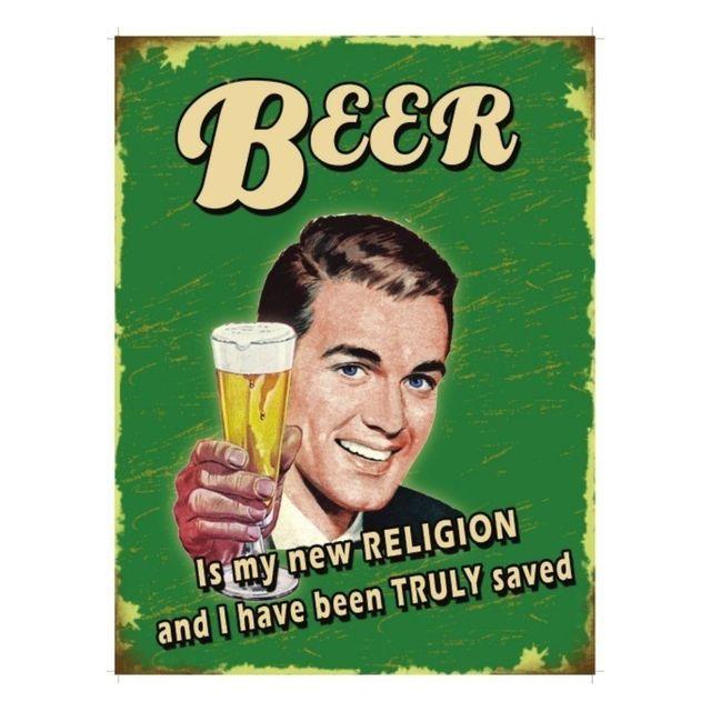 Universel Plaque cuisine beer my new religion tole humoristique metal