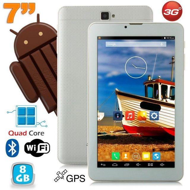 Yonis Tablette 3G 7 pouces Android KitKat Quad core 8 Go Dual Sim Blanc