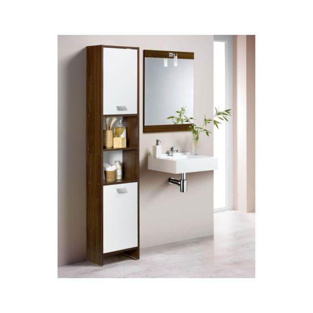 Usines Discount - Colonne de salle de bain 2 portes wengé ...