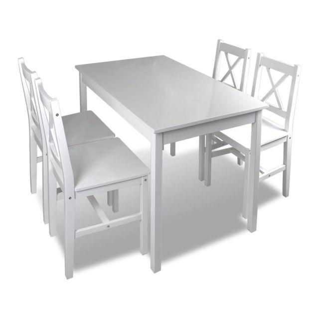 Helloshop26 Ensemble table salle à manger 108 cm salon en bois de pin avec 4 chaises blanc 0902031