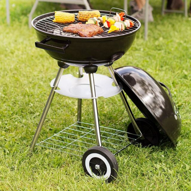 MAISON FUTEE Barbecue rond avec couvercle Acier 43 cm