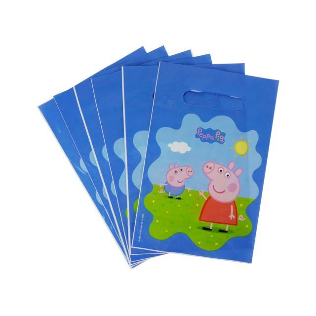 sans - lot de 6 sachet surprise peppa pig bleu - sac cadeau