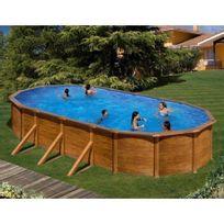 Gre Pools   Kit Piscine Hors Sol Acier Ovale Pacific Aspect Bois Avec  Renforts Apparents