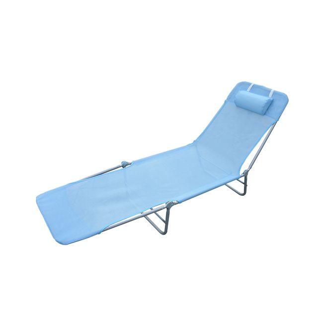 HOMCOM Chaise longue pliante bain de soleil inclinable transat textilene lit jardin plage bleu 38