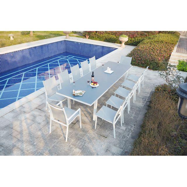 CONCEPT USINE - Moniga 12 : table de jardin extensible 12 personnes ...