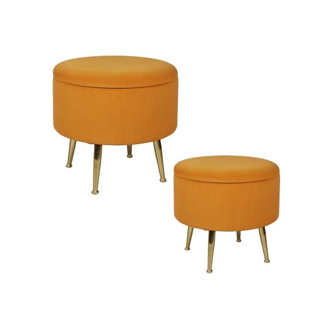 TABLE PASSION Set de 2 poufs orange sur pieds Bibum 40 et 45 cm