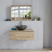 Meuble de salle de bain en bois d\'hévéa suspendu 80
