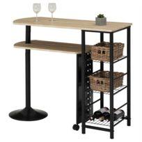 f6c5ebd20d754c IDIMEX - Table haute de bar JOSUA mange-debout avec comptoir et plateau  mobile en
