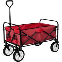 Pliable 4 Roues De Maximum 80 KgBâche Jardin Charge Chariot Avec Rouge WEDH29IY