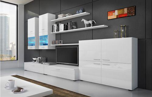 Comfort Home Innovation - Meuble de télévision, Meuble de Salon avec illumination Led, Blanc Laqué et Blanc Mate, Dimensions : 3