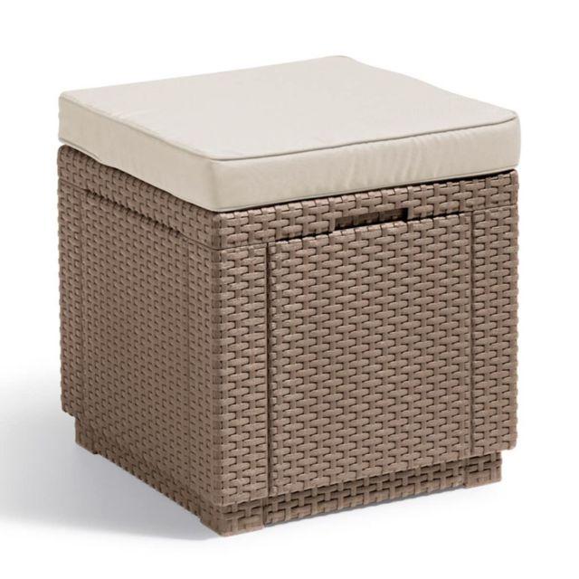 ALLIBERT Pouf de rangement Cube Cappuccino
