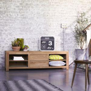 meuble tv plasma en teck 170 patio pas cher achat vente rueducommerce. Black Bedroom Furniture Sets. Home Design Ideas