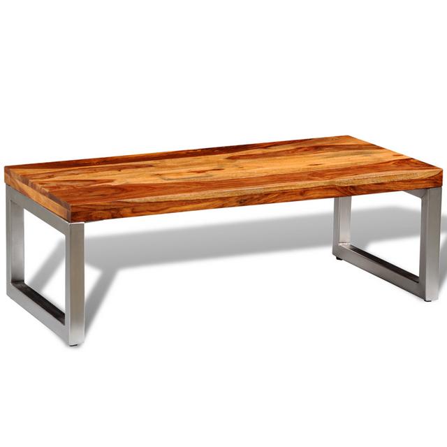 Vidaxl Table basse en bois sheesham solide avec pieds acier