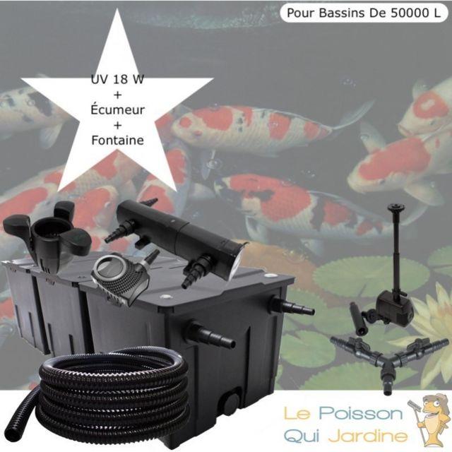 Le Poisson Qui Jardine Kit Filtration Complet, Uv 18W + Écumeur Et Fontaine, Pour Bassins De 50000 L