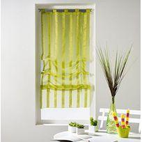 Douceur D'INTERIEUR - Un store droit à passant - rideau voile sable raye malta vert anis 45 x 180 cm