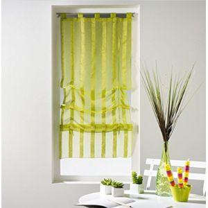 douceur d 39 interieur un store droit passant rideau voile sable raye malta vert anis 45 x. Black Bedroom Furniture Sets. Home Design Ideas