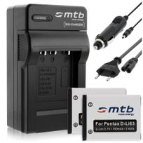 mtb more energy® - 2 Batteries + Chargeur Auto/Secteur, pour Pentax D-li63, D-li108 / Optio L40 M30 M40 T30 V10 W30.v. liste